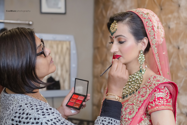 bridal makeup session