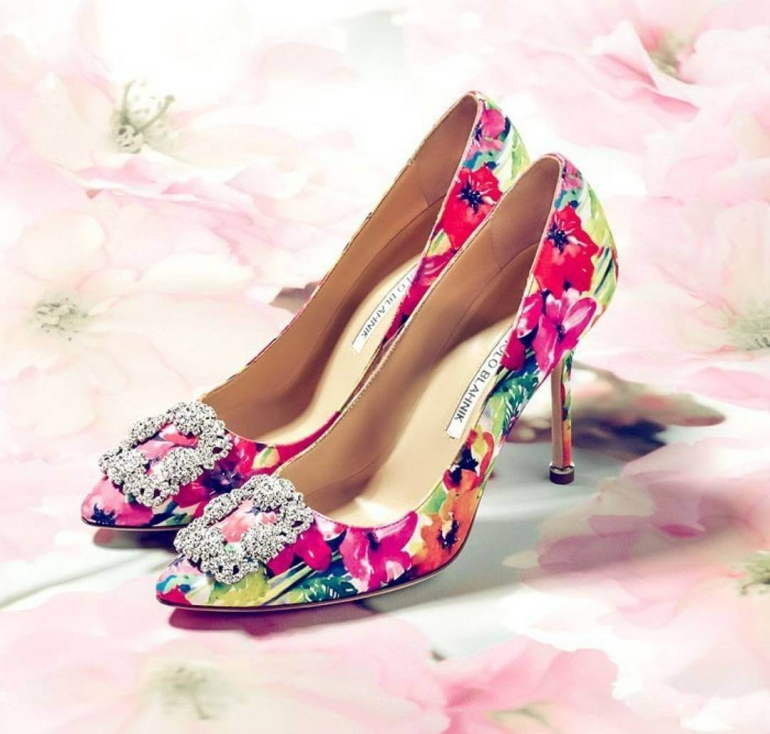 Floral bride shoes