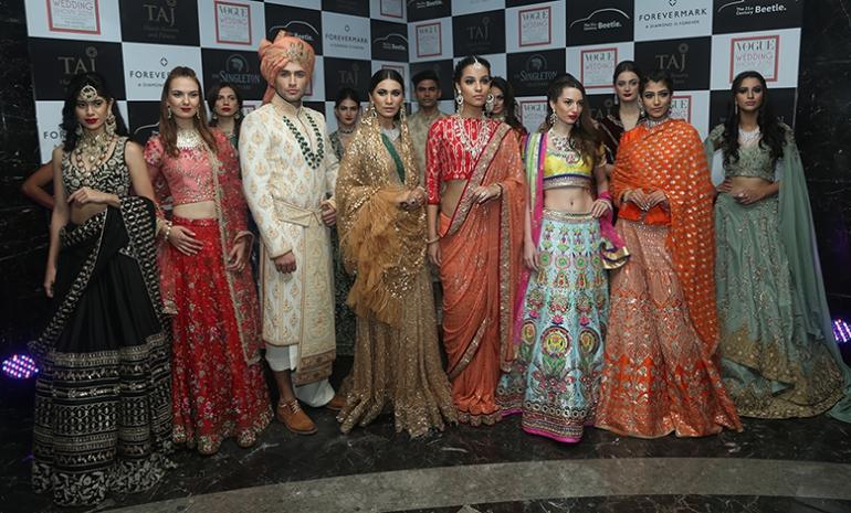 Models wearing designer wear