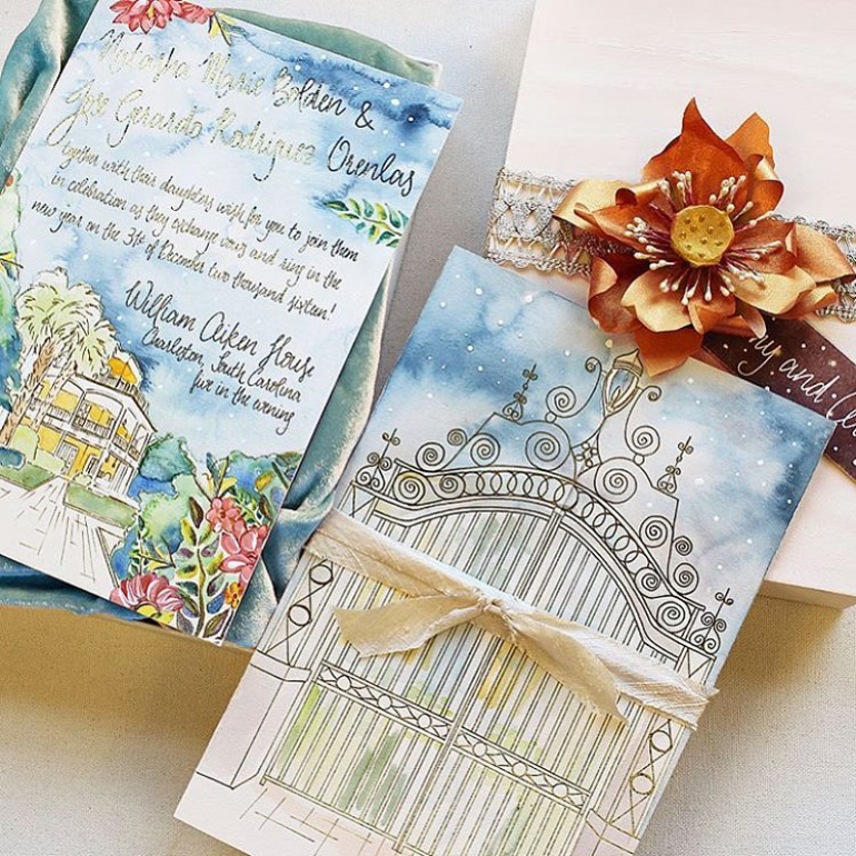 watercolor invites