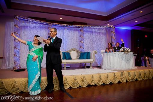 Blue and White Indian Wedding Reception with Om Cake - 4