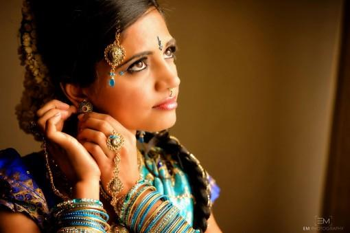 Blue South Indian Bridal Look with Flowers in Braid - 4