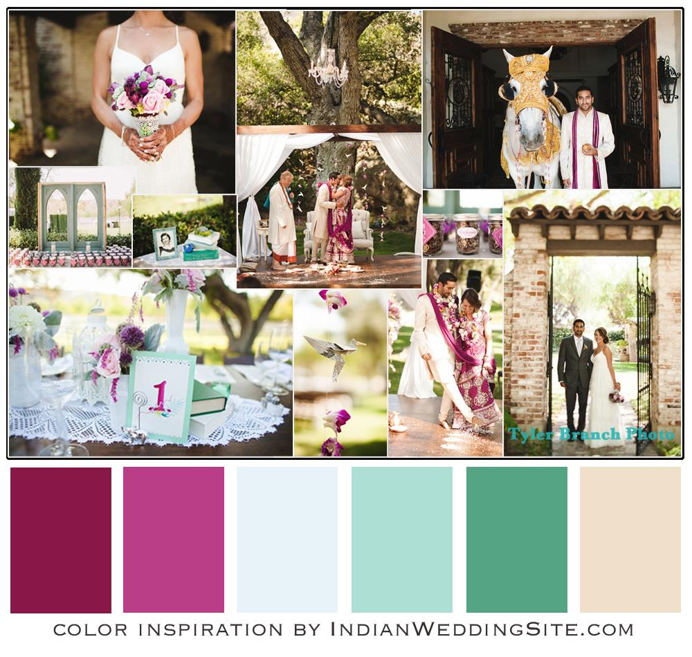 Indian Wedding Color Inspiration - Plum, Mint and Neutral