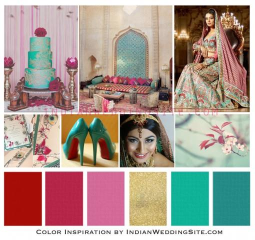 Indian Wedding Color Inspiration - Teal, Red and Pink