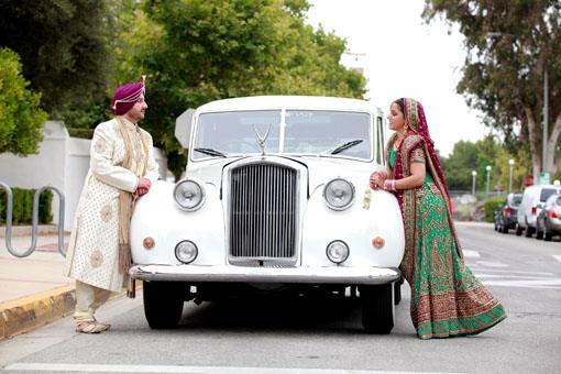 Indian Wedding Portraits with Vintage Rolls Royce