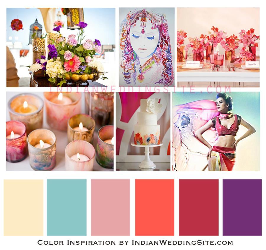 Indian Wedding Color Inspiration - Watercolour Palette
