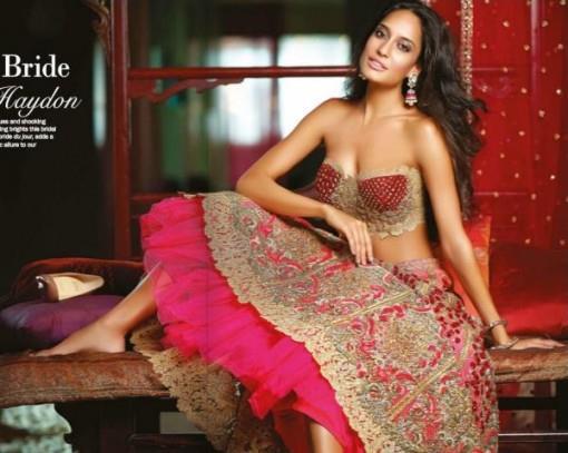 lisa-haydon-pink-bridal-lengha-choli-with-tulle-e1384218429589