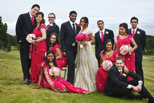 Modern Indian Portraits with Pink Bridesmaids Saris and Bouquets - 2