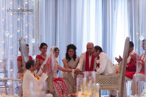 Modern White Hindu Ceremony with Crystals and Red Carpet - 2