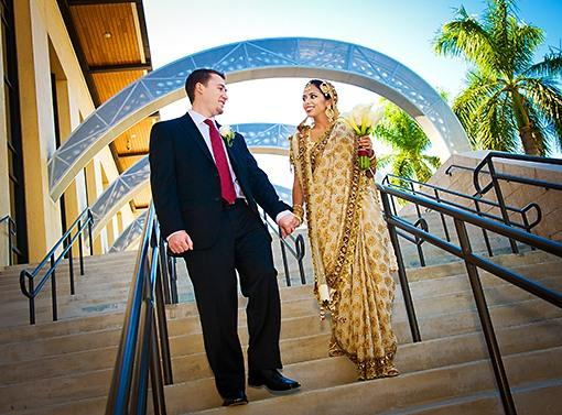 Multicultural Outdoor Indian Wedding Portraits