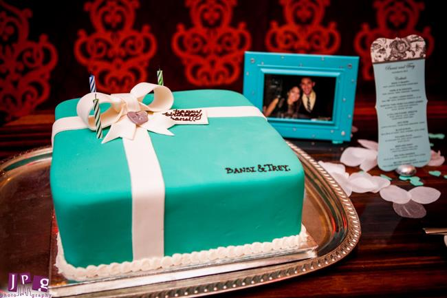 7 indian engagement party tiffany's themed cake