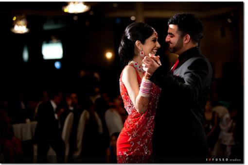 Red and Black Indian Wedding Reception