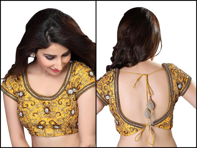 Saris and Things yellow traditional zardozi embroidered blouse