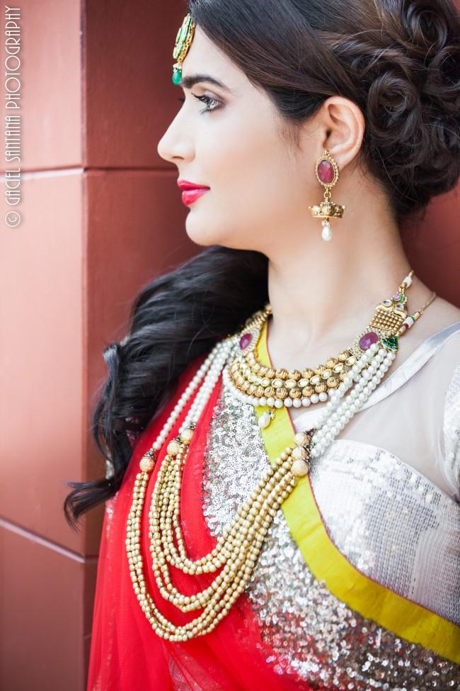 2indian wedding double strand necklace and matha patti