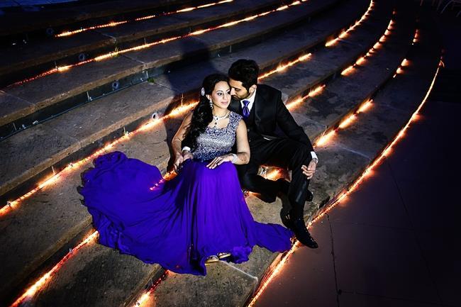 indian-wedding-outdoor-portrait-purple-bridal-lengha