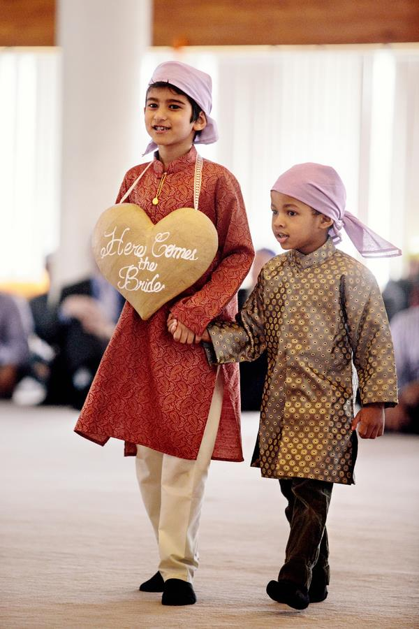 8a Indian Sikh Wedding bridal entrance. Kids holding sign