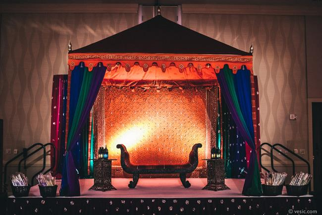 1a indian wedding mandap orange and blue