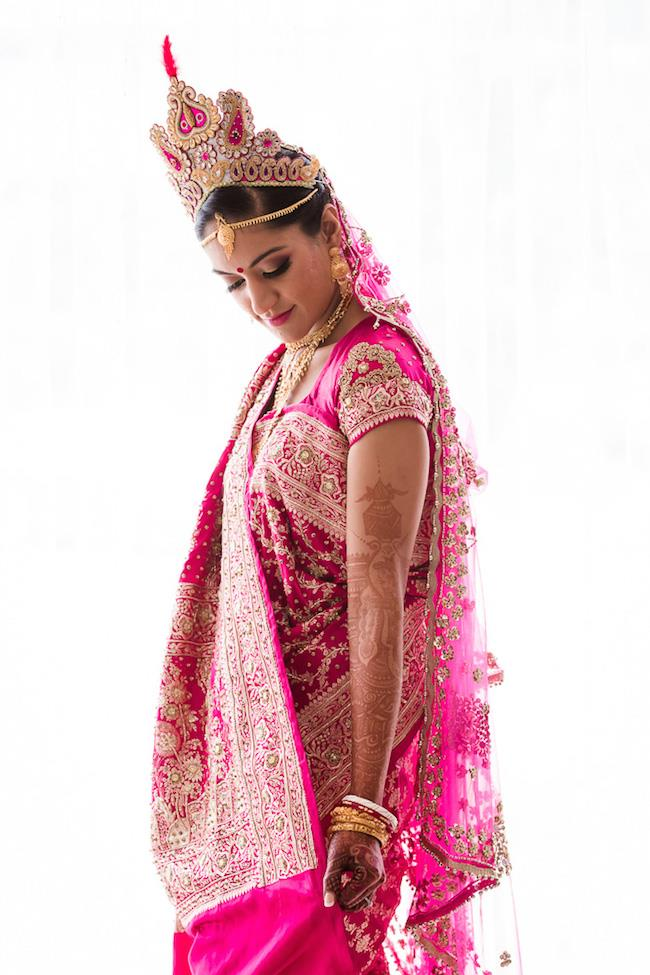 13a indian wedding pink sari and crown