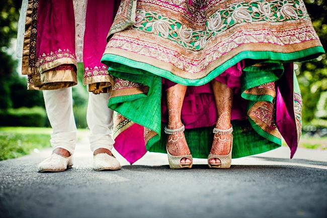 Indian bride and groom shoe shot