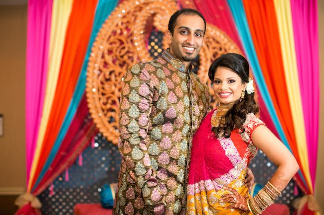 4a indian wedding bride and groom sangeet