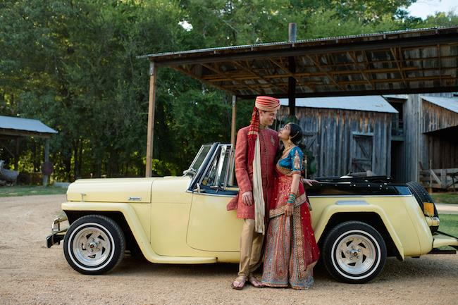 8a INDIAN WEDDING BRIDE AND GROOM PORTRAIT YELLOW CAR